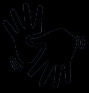 #PraCegoVer  Em cor preta, duas mãos com os dedos esticados, ícone da Língua Brasileira de Sinais (LIBRAS).