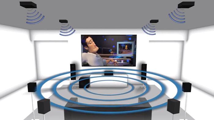 #pracegover: Ilustração digital de uma sala. No ambiente, há caixas de som com representação de ondas sonora. Ao fundo da sala, há um telão transmitindo um desenho.