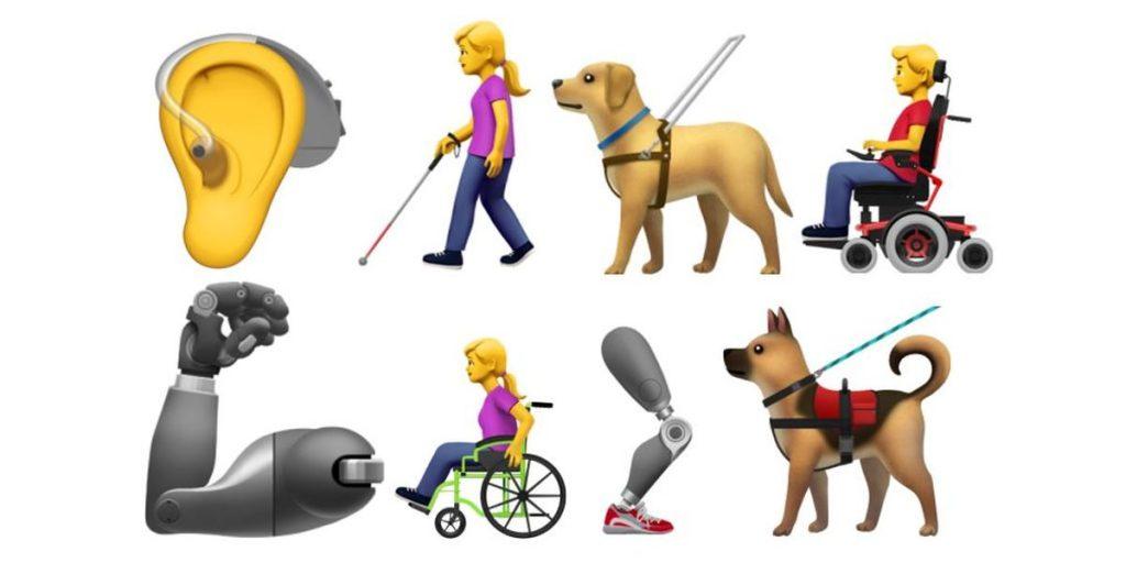 #PraCegoVer: Fundo branco. Oito emojis  estão dispostos em duas linhas, sendo quatro em cada uma. Na primeira linha: Um ouvido com aparelho auditivo, uma mulher com bengala para cego, um cão-guia e um homem em uma cadeira de rodas. Na segunda linha: um braço mecânico, uma mulher em uma cadeira de rodas, uma perna mecânica e, por último, outro cão-guia.