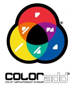 #PraCegoVer Audiodescrição resumida: Três círculos entrelaçados formando um triângulo. Eles possuem as cores amarela, laranja, vermelho, roxo, azul e verde, sendo que dentro de cada cor há um código para daltónicos. No centro do desenho, há a cor preta. Abaixo o texto: Coloradd, Color Identification System.