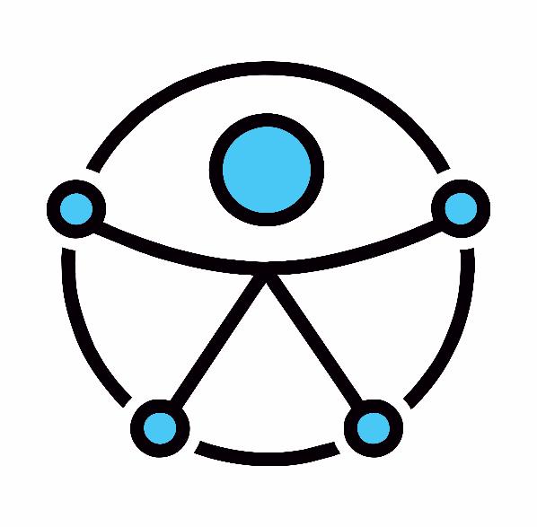 #PraCegoVer audiodescrição resumida: Círculo de bordas pretas. Ao centro, desenho de um boneco palito com a cabeça formada por um círculo azul e com braços e pernas abertos. Na altura das mãos e pés, estão círculos azuis que o interligam com o círculo preto.
